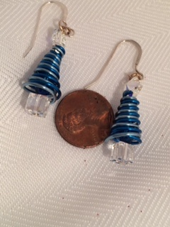 Blue Christmas Tree Earrings